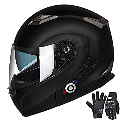 FreedConn Motorcycle Bluetooth Helmets,Bluetooth Integrated Modular Flip up Full Face Motorcycle Helmet,Dual Visor Modular Bluetooth Helmet,Mp3 FM Intercom DOT Approved Helmet (XL,Matte Black)