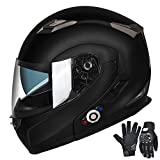 FreedConn Motorcycle Bluetooth Helmets,Bluetooth Integrated Modular Flip up Full Face Motorcycle Helmet,Dual Visor Modular Bluetooth Helmet,Mp3 FM Intercom DOT Approved Helmet (Matte Black,Large)