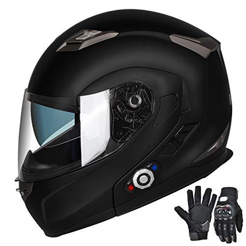 FreedConn Motorcycle Bluetooth Helmet,Bluetooth Integrated Modular Flip up Full Face Motorcycle Helmet,Dual Visor Modular Bluetooth Helmet,Mp3 FM Intercom DOT Approved Helmet(Matte Black, Medium)