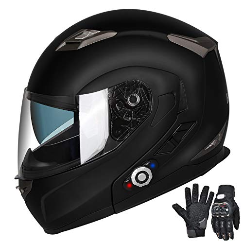 FreedConn Bluetooth Motorcycle Helmets Speakers Integrated Modular Flip up Dual Visors Full Face Built-in Bluetooth Mp3 Intercom Headset Communication Range 500M (XL,Matte Black)