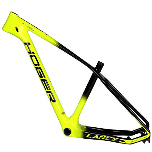 LJHBC Marco de Bicicleta 27,5 Cuadro de Bicicleta Ultraligero de Fibra de Carbono Cuadro de Bicicleta de montaña con portavasos 15 / 17in (Color : Green B, Size : 15in)