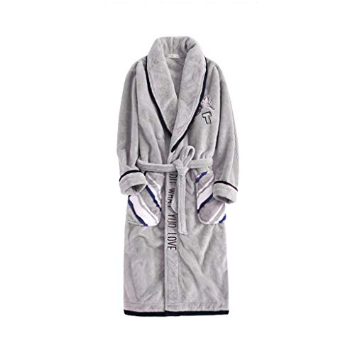Sleepwear & Robes Night Gown Men's Winter Thick Long Coral Fleece Pajamas Solid Color Warm Plus Velvet Flannel Bathrobe Best Gift (Color : Gray, Size : XXL)