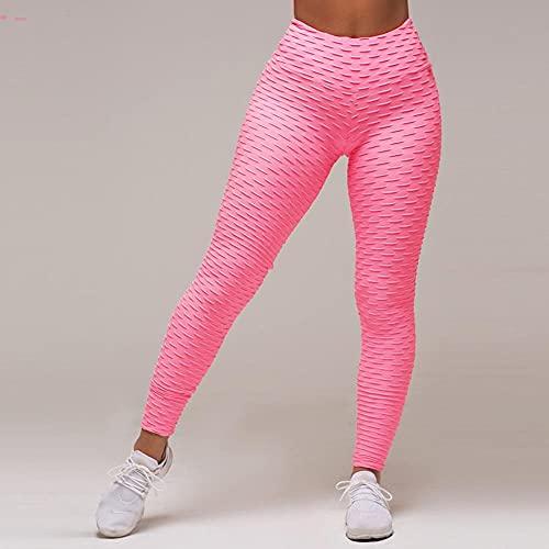 ArcherWlh Leggings Push Up Mujer,Deportes Pantalones de Yoga Deportes de Mujer Deportes de Ropa Deportiva Sudor Sweat Bubble Bubble Leggings-Rosa_S