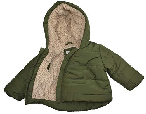 Pocopiano Baby Jungen Jacke Steppjacke Winterjacke mit Kapuze grün (74/80)