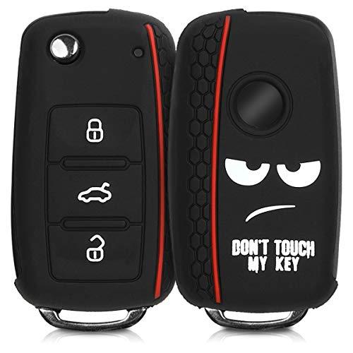 kwmobile Funda Compatible con VW Skoda Seat Llave de Coche de 3 Botones - Carcasa Protectora Suave de Silicona - Don't Touch my Key