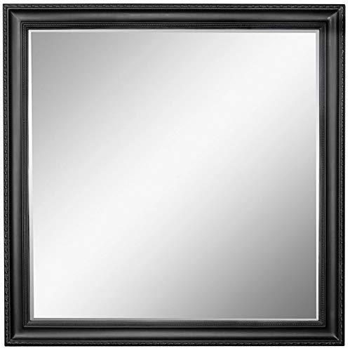 Scan-Trader Inspire Speigel Garderobenspiegel Moderner Vintage Wandspiegel Flurspiegel mit Schwarz Holz Dekorativer Landhaus-Stil Rahmen für Flur, Garderobe, Wohnzimmer, 109x109x3,5 cm