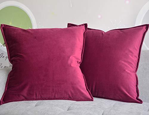 Lutanky Fodere per cuscino in velluto (confezione da 2) Fodera per cuscino da tiro quadrata decorativa Fodera per cuscino morbido per divano letto Rosso vinaccia 45 cm x 45 cm 18x18 Inch
