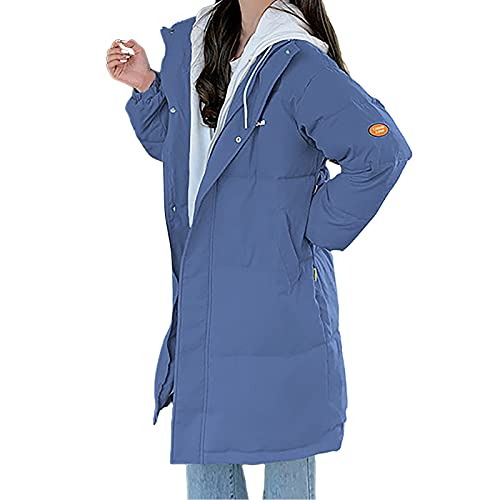 YESMAN Chaqueta larga de invierno para mujer, de patchwork largo, clida y engrosada de transicin de color slido, abrigo largo universitario, chaqueta acolchada con capucha, color block, azul, M