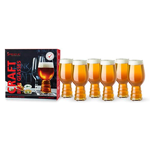 Spiegelau Craft IPA, Set of 6 European-Made Lead-Free Crystal, Modern, Dishwasher Safe, Professional Quality Beer Pint Glass Gift Set, 19.1 oz, Clear