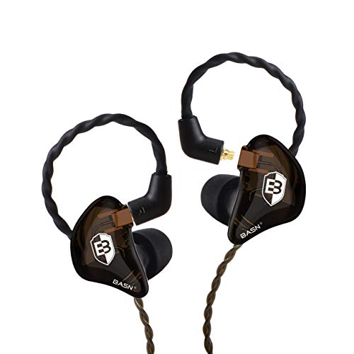 in Ear Monitor Headphones for Musicians, BASN Bsinger 2nd Generation Sound Isolating Earphones with Dual Dynamic Drivers Detachable MMCX Cable (Brown)