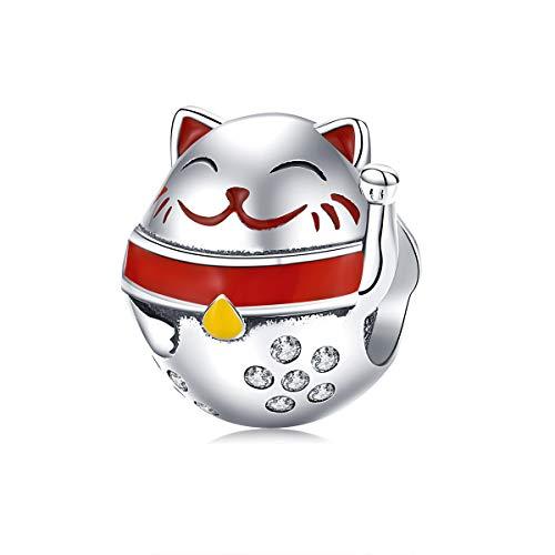 Charm in argento sterling 925 a forma di gattino portafortuna giapponese, animaletto smaltato, compatibile con braccialetti e collane Pandora, regalo per la festa della mamma