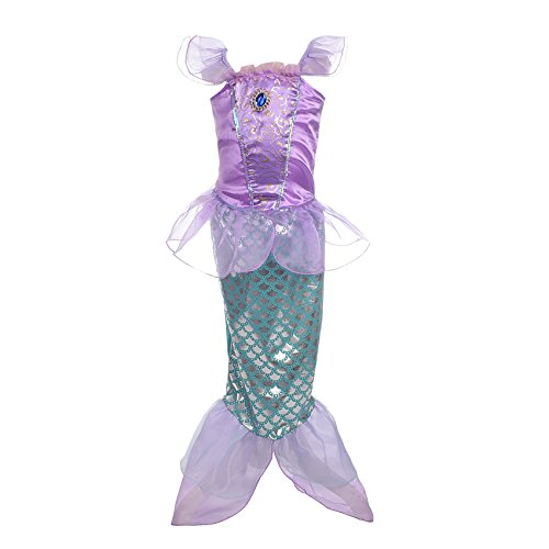 Lito Angels Girls Princess Mermaid Costumes Fairy Tales Dresses Fancy Party Dress Size 2-3 Years Purple
