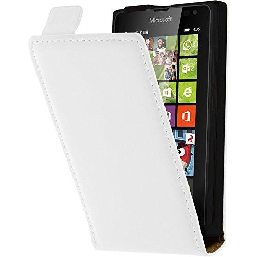 PhoneNatic Kunst-Lederhülle kompatibel mit Microsoft Lumia 435 - Flip-Hülle weiß + 2 Schutzfolien