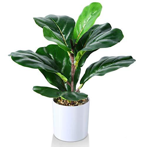 Kazeila Mini fausses plantes en Pot, Plante de figue de feuille de violon artificielle de 40 cm pour Bureau à Domicile hôtel librairie Café décoration Moderne