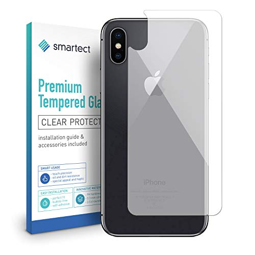 smartect Beschermglas compatibel met iPhone X/iPhone XS [Achterkant] - screen protector met 9H hardheid - bubbelvrije beschermlaag - antivingerafdruk kogelvrije glasfolie