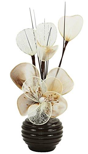 Flourish Braun Biege Creme Künstliche Blumen Mit Schoko Braun Vase, Deko, Wohnaccessoires & Deko Geeignet für Bad, Schlafzimmer Oder Küche Fenster / Regal, 32cm, Crème / Schoko / Dunkelbraun