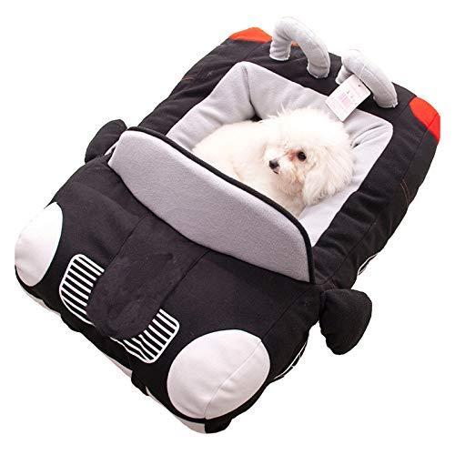MKKSLR Haustier-Hundebett, modisches Auto-Form, Katzennest, Demontage, kann gereinigt Werden, weiches Welpenhaus, warmes Kissen, gepolstertes Sofa, Orange Schwarz