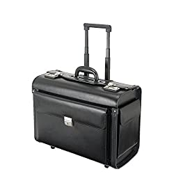 Alassio 92705 - Pilot case SILVANA, made of high quality leather, approx. 49 x 40 x 25 cm, black