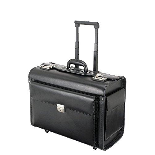 Alassio 92705 - Pilotenkoffer SILVANA, aus hochwertigem Leder, ca. 49 x 40 x 25 cm, schwarz