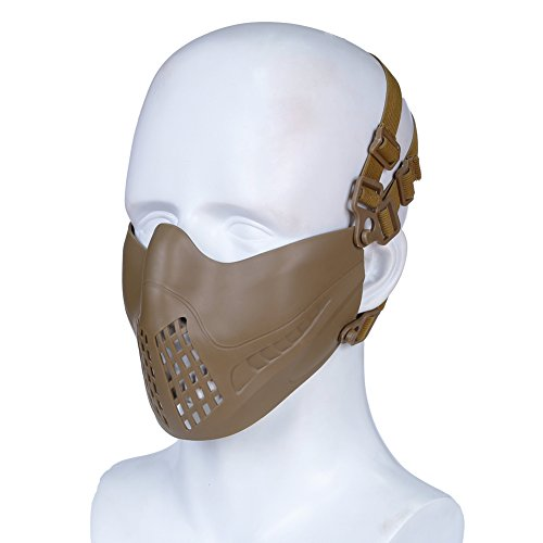 H World EU Airsoft Tactical Outdoor Paintball Protección de la Caza Half Face Mask fit Fast Helmet (Tan)