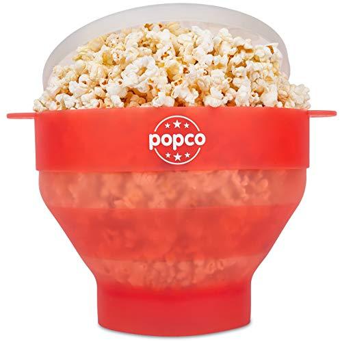 Popco Popcorn-Popcorn-Maschine aus Silikon mit Griffen, faltbare Schale, BPA-frei und spülmaschinenfest – 10 Farben erhältlich transparent / rot