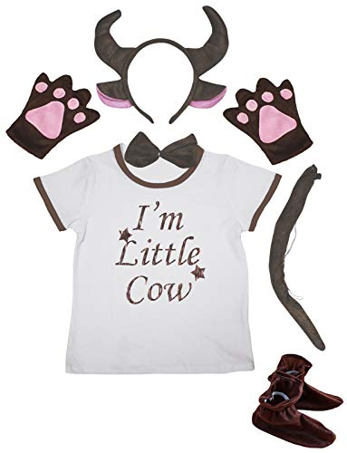 Petitebelle I'm Little Cow Shirt 3D Brown Vaca Diadema Zapatos 6pc Disfraz 1-4Y (Marrn, 3-4year)
