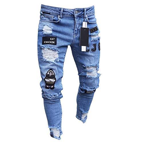 Jeans Hose 3 Styles Herren Stretchy Ripped Skinny Moto & Biker Badge Stickerei Print Jeans Destroyed Hole Denim Hochwertige Jean L Blue