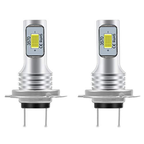 CCAUTOVIE Bombilla LED Antiniebla Coche H7 para Luces Antiniebla Circulación Diurna DRL 80W 6000K Blanco 3570 2SMD