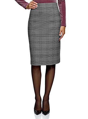 oodji Collection Mujer Falda Recta de Cintura Alta, Gris
