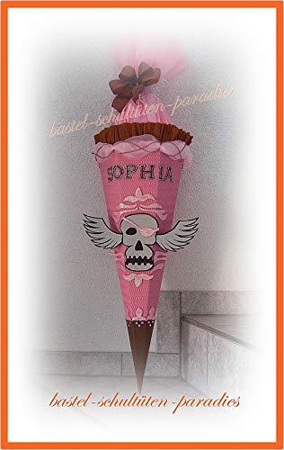 Schultüten Bastelset Totenkopf mit Flügel rosa-braun