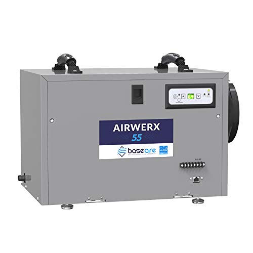 BaseAire AirWerx55 Energy Star Dehumidifier for Crawl Space Basement, 120 Pints Commercial Dehumidifier with Continuous Drain Hose, 5 Years Warranty, Intelligent Humidity Control, Auto Shut off/Restart