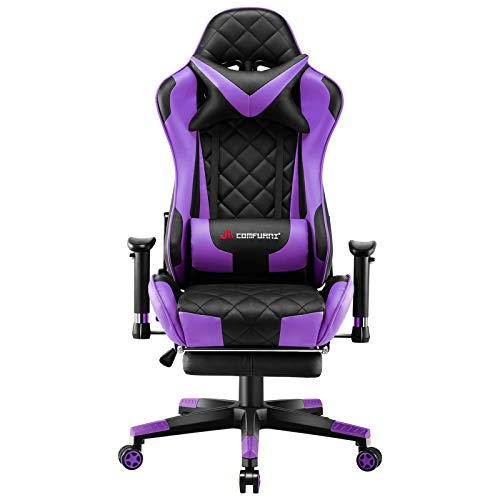 JL Comfurni Gaming Chair Racing Computer Chair Office Desk Chair High-Back Gaming Recliner with Footrest Ergonomic Video Chair for adults PU Leather Swivel E-sports Chair Purple