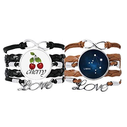 Bestchong Armband mit Sternzeichen-Waage, Lederseil, Kirschmotiv, Liebesarmband, Doppelset
