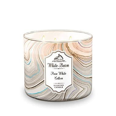 Bath and Body Works White Barn 3 Wick Scented Candle Pure White Cotton 14.5 Ounce