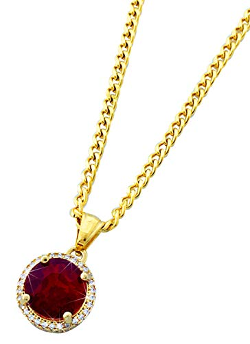 Gold Stainless Steel Round Ruby Pendant Necklace with 24' Chain
