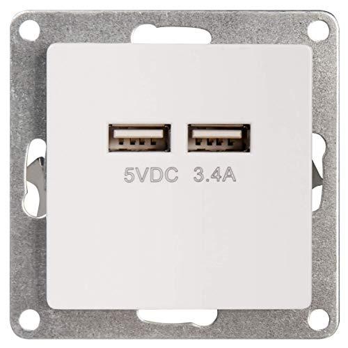 MC POWER - USB Ladedose | CUP | 2-fach, 5V / 3,4A, UP, weiß, poliert | ideal z. B. für das Laden von Smartphones und Tablets