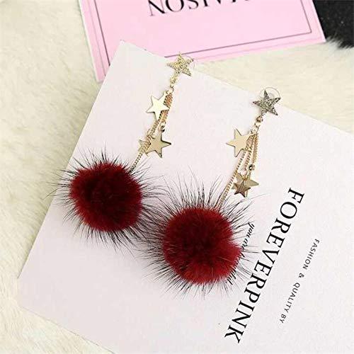 UOUAY dames sieraden oorbellen vierbladige cHeartr en parel kwast druppel oorbellen cadeautjes voor verjaardag Valentines verjaardag vrouw meisje moeder wijn rood 1352