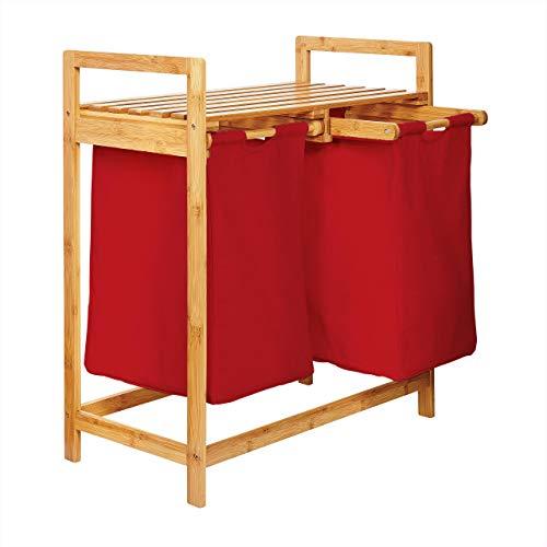 Lumaland Estantería de baño en Bambú con cesto para la Colada - Cesta para Ropa Sucia con 2 compartimientos extraibles - Mueble para el lavadero - 73 x 64 x 33 cm - Rojo