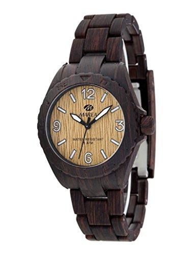 Marea Woodlook L Unisex Armbanduhr in Holz Optik mit Kunststoff Uhrband in Braun (dunkelbraun)