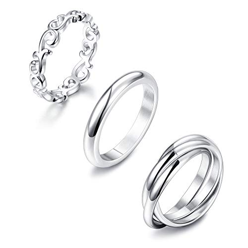 LOLIAS 3Pcs Stainless Steel Rings for Women Plain Dome Celtic Knot Triple Interlocked Rolling Eternity Wedding Band Stackable Ring,7