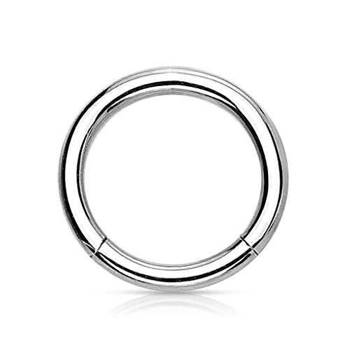 eeddoo Piercing-Ring Segmentring Silber Titan Stärke: 1,2 mm 10 mm