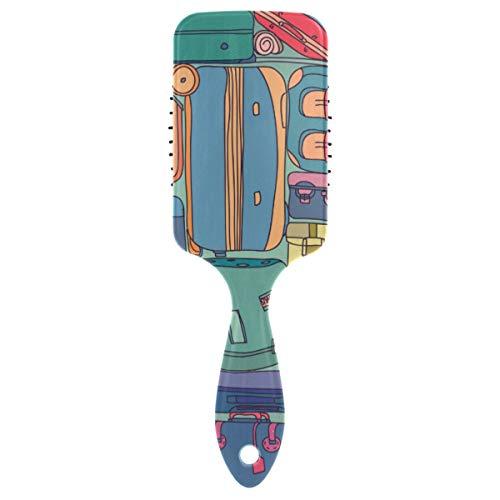 FANTAZIO Collectie Van Vintage Reizen Koffers Met Stickers Patroon Styling Borstel Geweldig voor Rechtzetten, Smoothing, Top Detangling Borstel Static-free