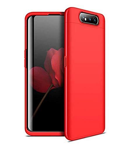 Kompatibel mit Galaxy A80 Hülle Galaxy A80 Schutz 3 in 1 Hart Tasche Handyhülle Ultra Dünn Geschäftsstil Anti-Rutsch Anti-Fingerabdruck Hardcase (Rot, Galaxy A80)