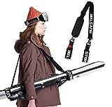 auvstar Invernali Ski Tracolla,Regolabile Portatile Cinghie da Sci,Sci e Pole Strap,Facilmente Trasportare Skis per Sci Carving,Sci da Escursioni,Sci di Fondo,Snowboard,Portasci per Adulti e Bambini