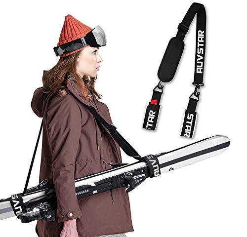 auvstar Ski Snowboard Tragegurt,Verstellbarer Ski Shoulder Strap, Skibänder,Ski Gurt,Einfachen Transport Ihrer Skiausrüstung