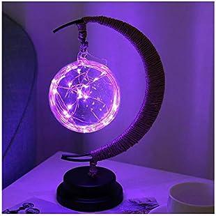XIAOXINYUAN Creative Ball Handmade Hemp Rope Iron Art Led Bedside Table Lamp Four-Color Sleep Nightlight Home Decor