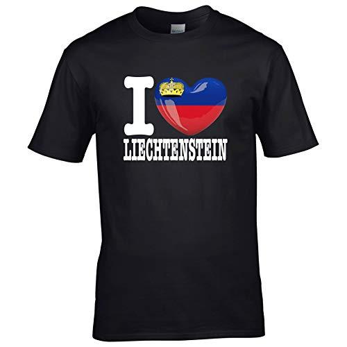 FanShirts4u Kinder T-Shirt - I Love Liechtenstein - EM WM Trikot Liebe Herz Heart (12/14 Jahre 152-164 cm, I Love Liechtenstein - Schwarz)