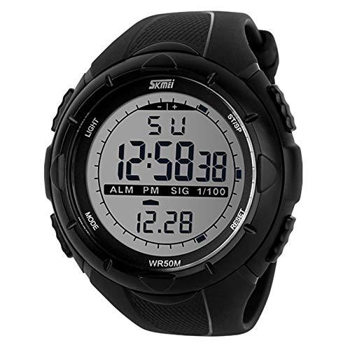 JTTM Deportivo LED Reloj Digital De Cuarzo con Correa De Gaucho Esfera Grande Multifunción Alarma Cronómetro Calendario Waterproof Wrist Watch para Hombre Chico 3 Colores A Elegir,Negro