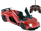 Haktoys RC Sports Car, 1:14 Scale Red Radio Remote Control Super Fast Realistic & Detailed Toy Vehicle with Scissor Doors