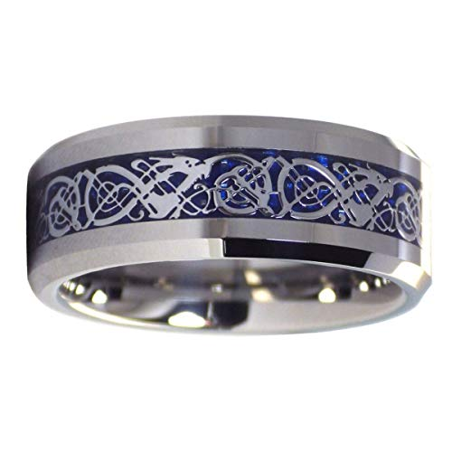 Fantasy Forge Jewelry Tungsten Celtic Ice Dragon Ring Anniversary Wedding Band Blue Carbon Fiber 8mm Size 17